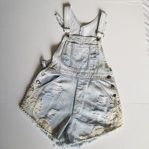 Furst of a Kind distressed and lace overall shorts